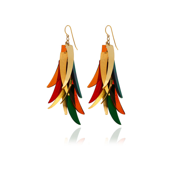 Gold Feathers Crystal Earring - Georgina Jewelry