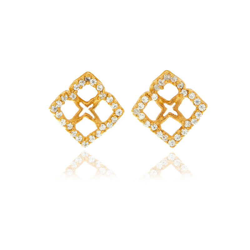 Signature Mini Flower Diamond Earrings - Georgina Jewelry