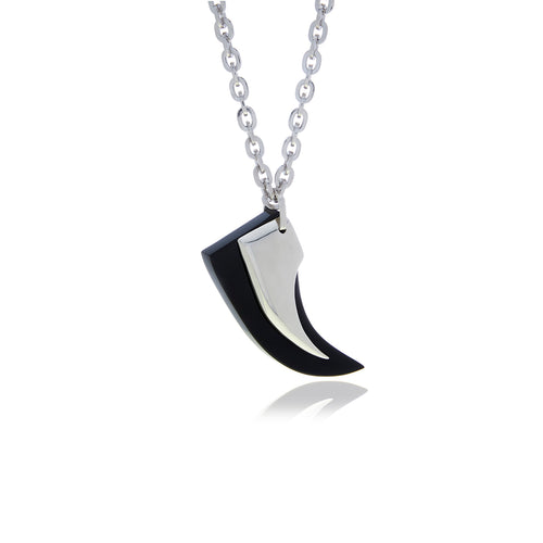 Runway Onyx Silver Horn Necklace - Georgina Jewelry