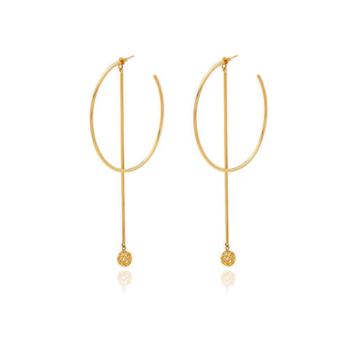 Runway Gold Long Pendulum  Earring - Georgina Jewelry
