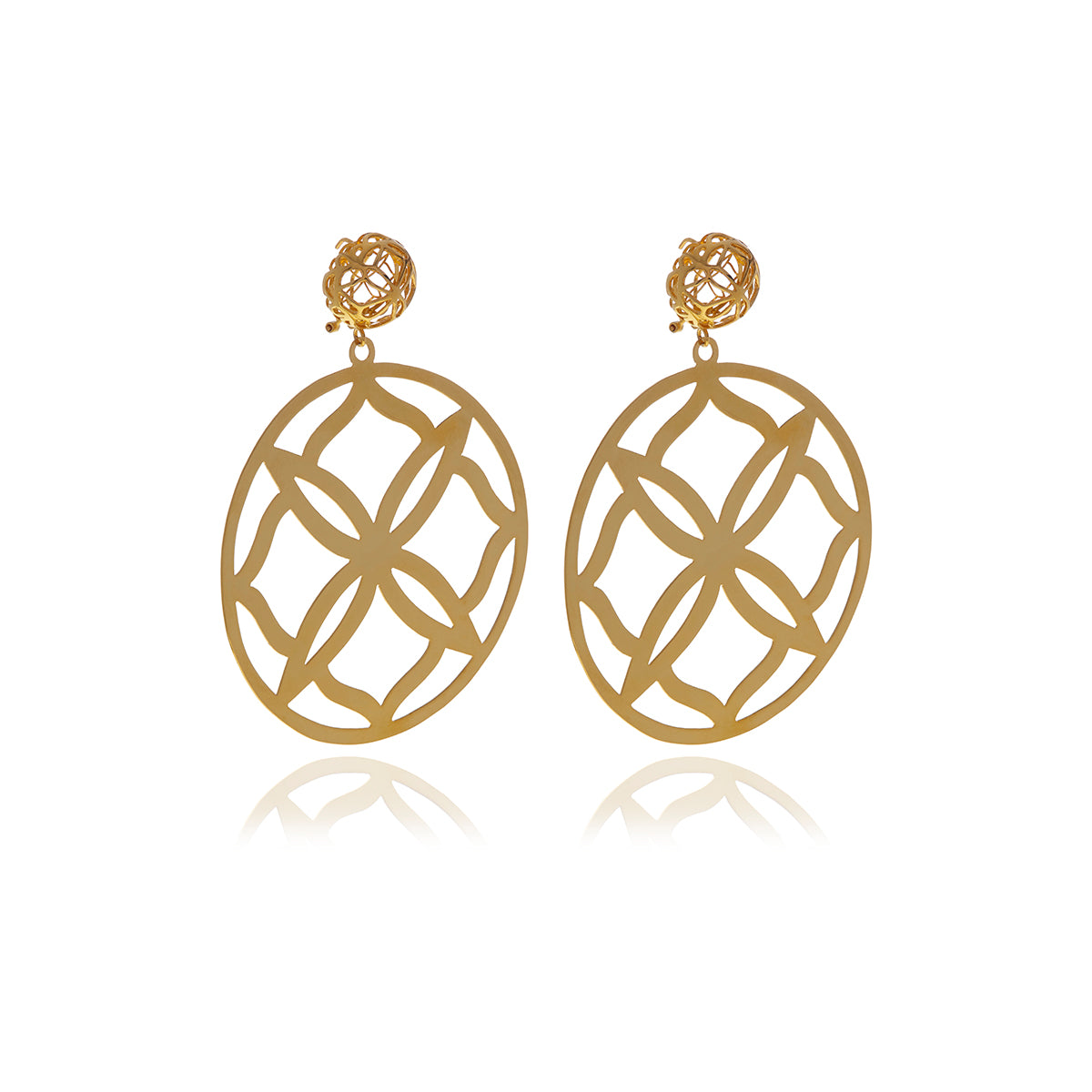 Runway Gold Flower Earrings - Georgina Jewelry