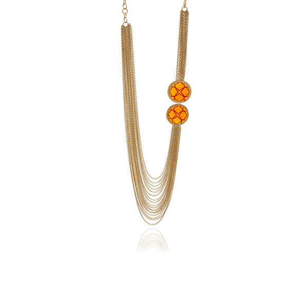 Runway Gold and Orange Crystal Long Necklace - Georgina Jewelry