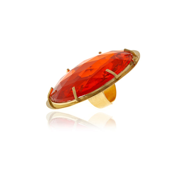 Runway Gold and Orange Crystal Ring - Georgina Jewelry
