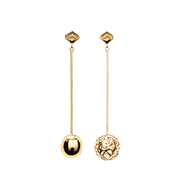 Gold Asymmetric Signature Sphere Long Earrings