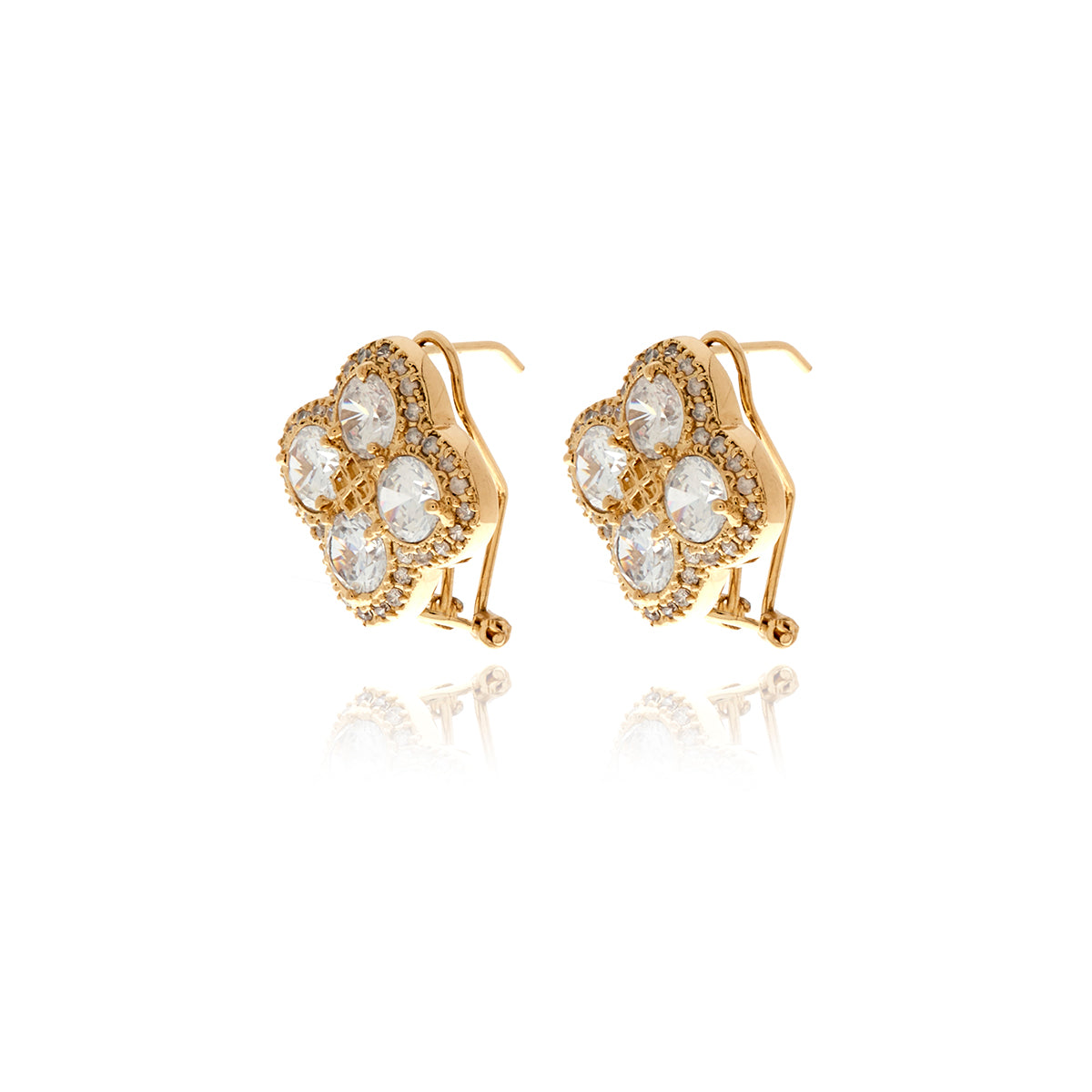 Chandler Gold  Diamond Flower Earrings - Georgina Jewelry