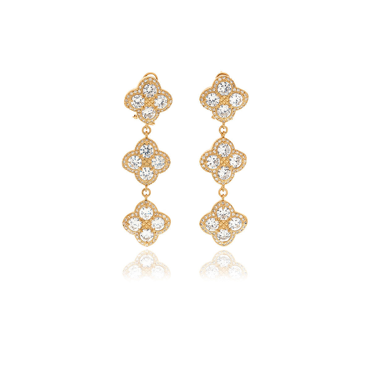 Chandler Diamond Flower Long Earrings - Georgina Jewelry