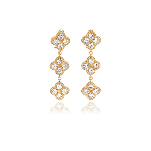 Gold Chandler Diamond Flower Long Earrings - Georgina Jewelry