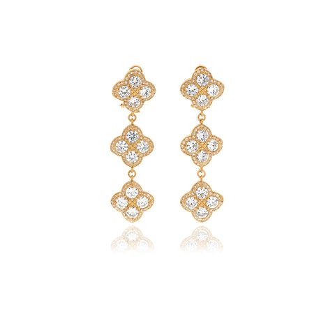 Gold Petal Diamond  Earrings