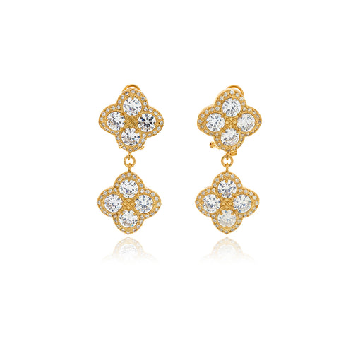 Chandelier Diamond Flower Earrings - Georgina Jewelry