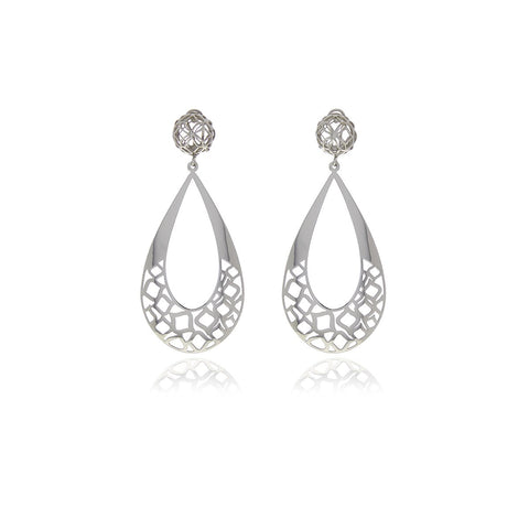 Luxe Silver Drop Long Earrings