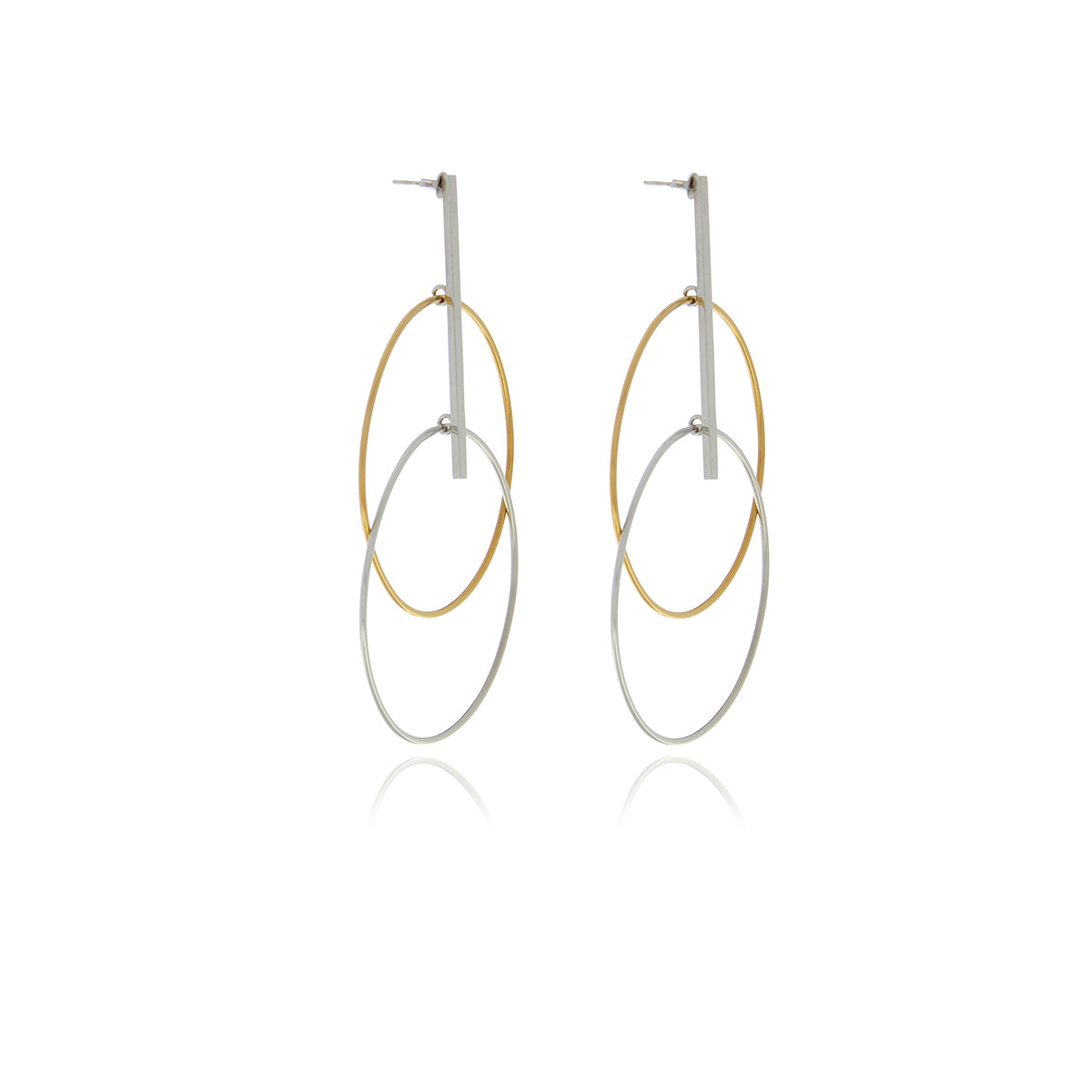 Two Tone Circle Earrings - Georgina Jewelry