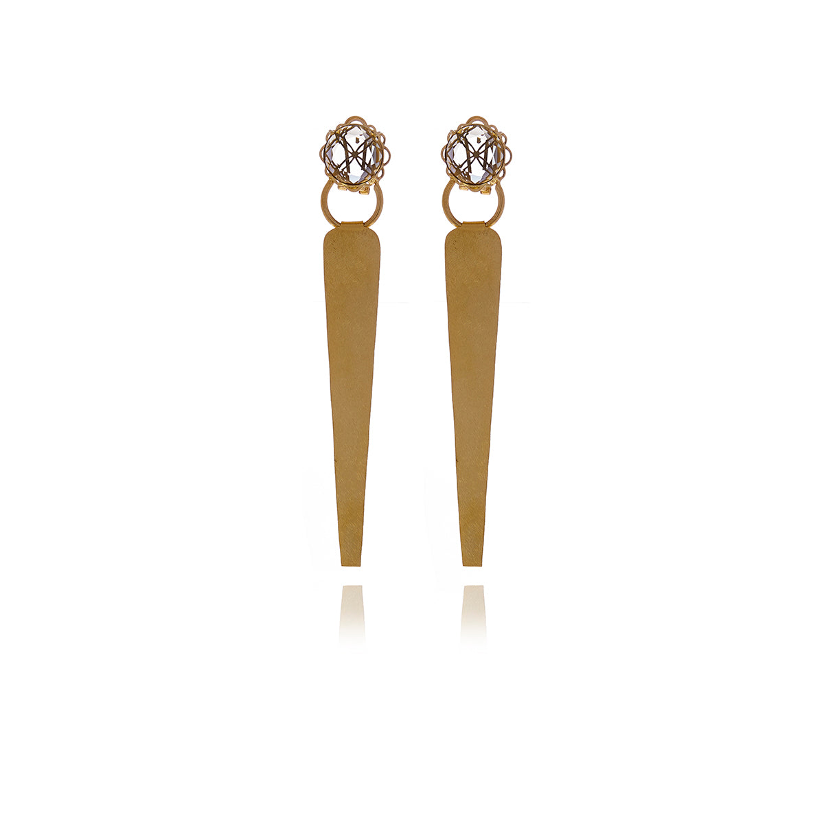 Releve Runway Gold Crystal Triangle Earrings - MCK Brands