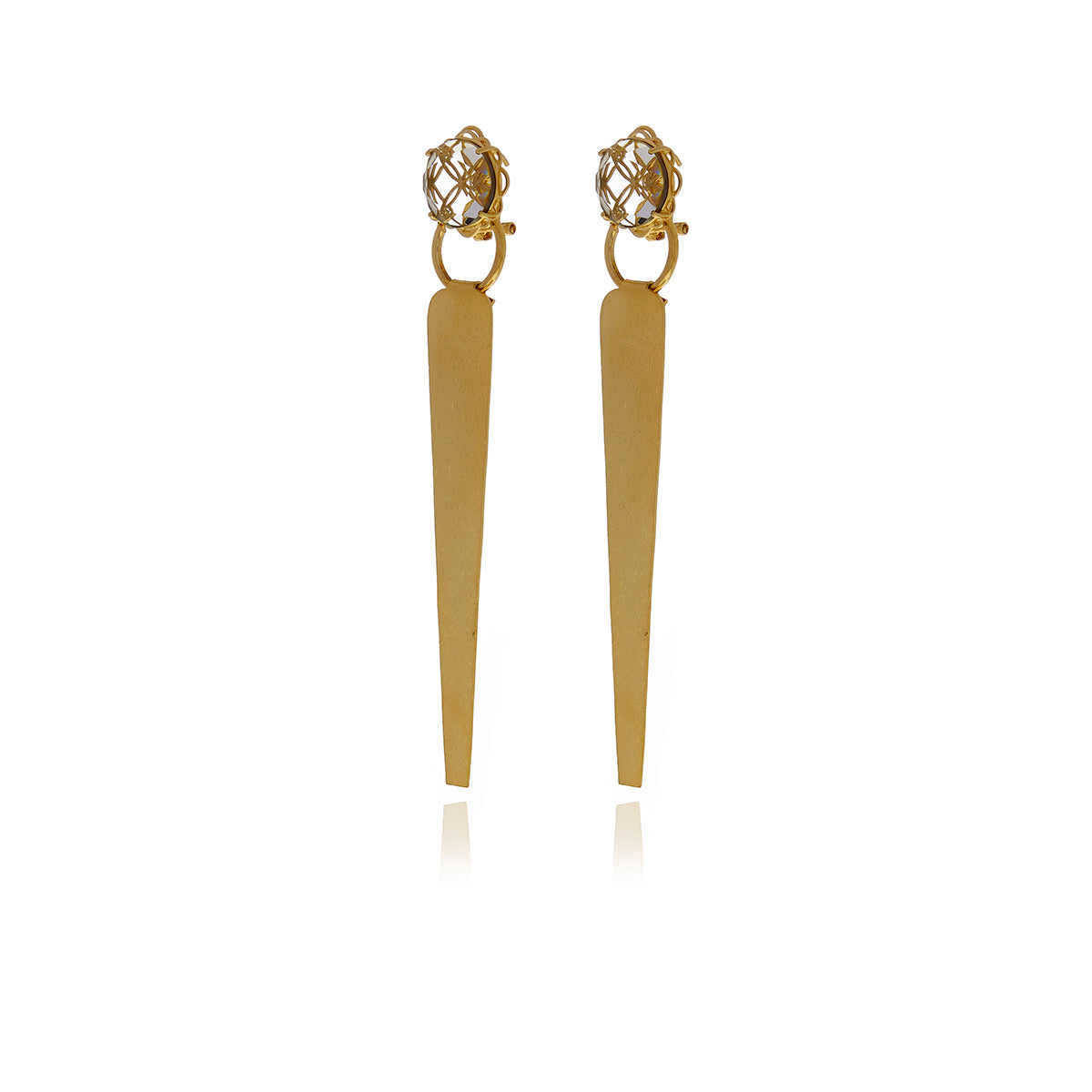 Releve Runway Gold Crystal Triangle Earrings - Georgina Jewelry