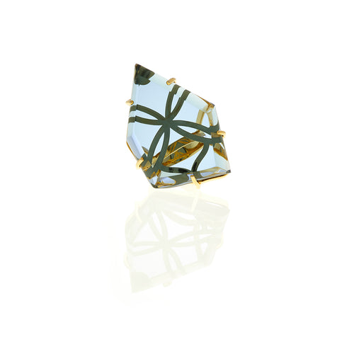 Signature Gold Asymmetric Crystal Ring