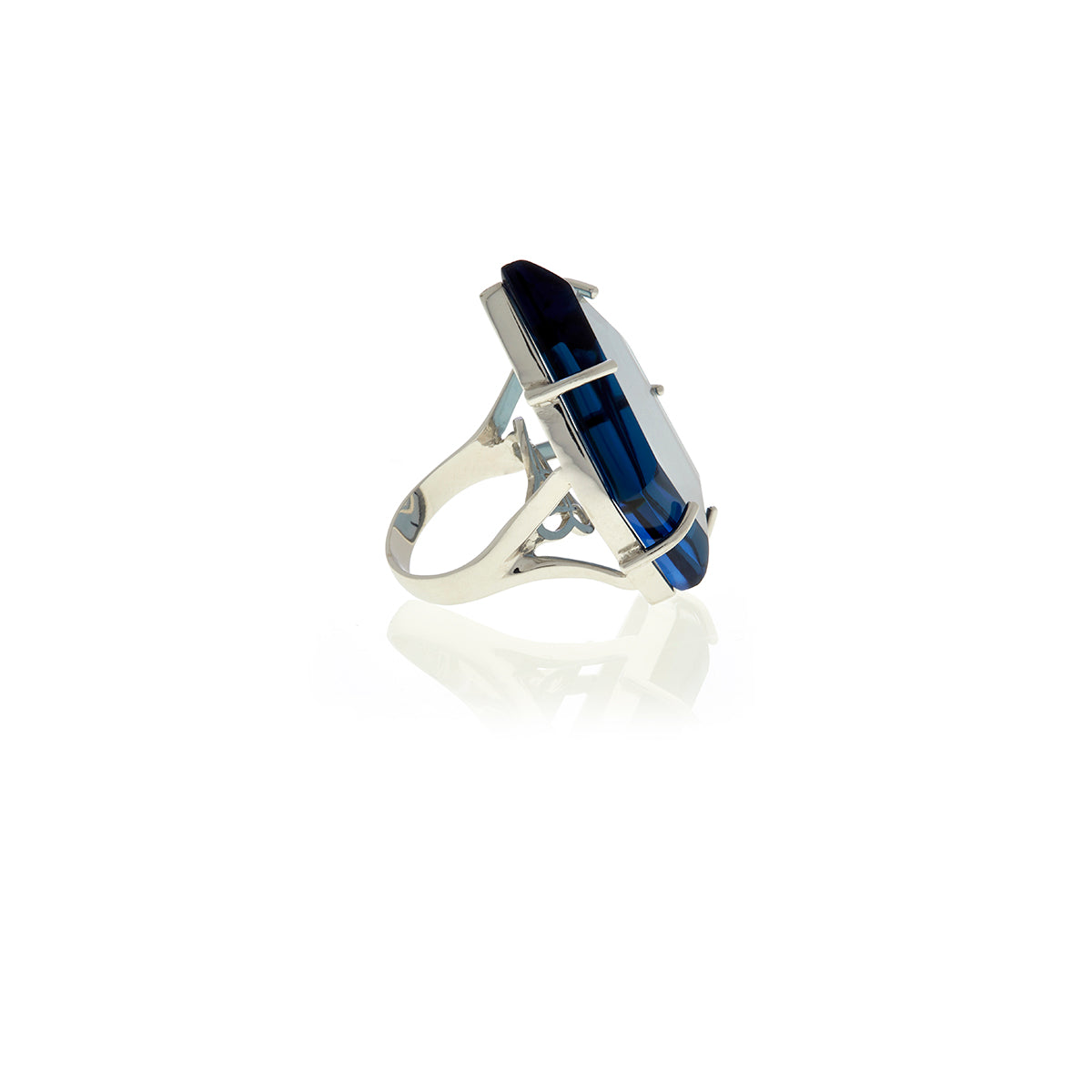 Signature Asymmetric  Gold Crystal Ring