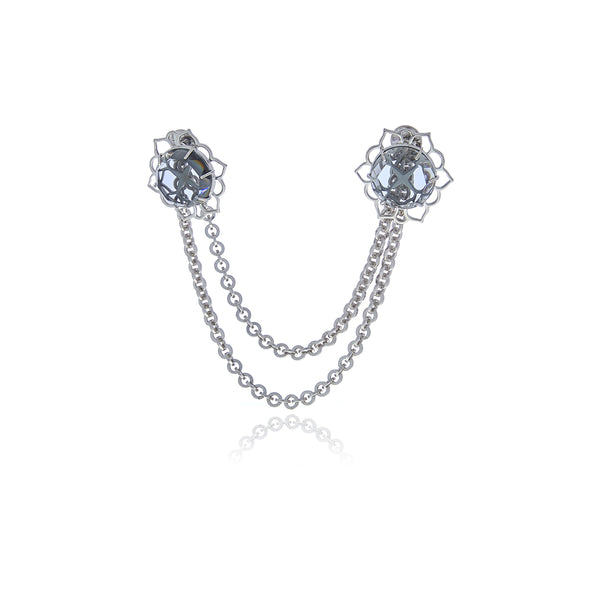 ERA Double Chain Crystal Men's Brooch - Georgina Jewelry