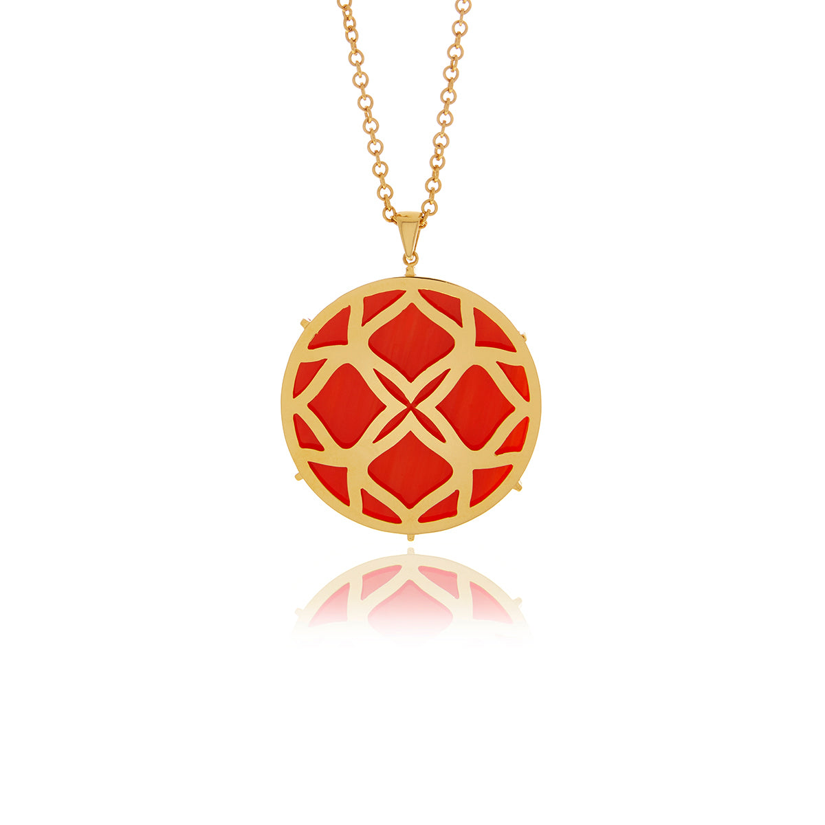 Signature Gold and Garnet Medallion Necklace - Georgina Jewelry