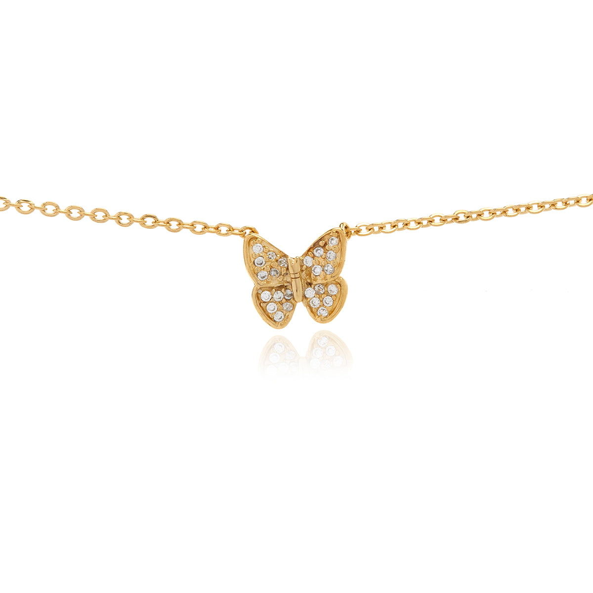 Gold Mini Butterfly  Diamond  Necklace