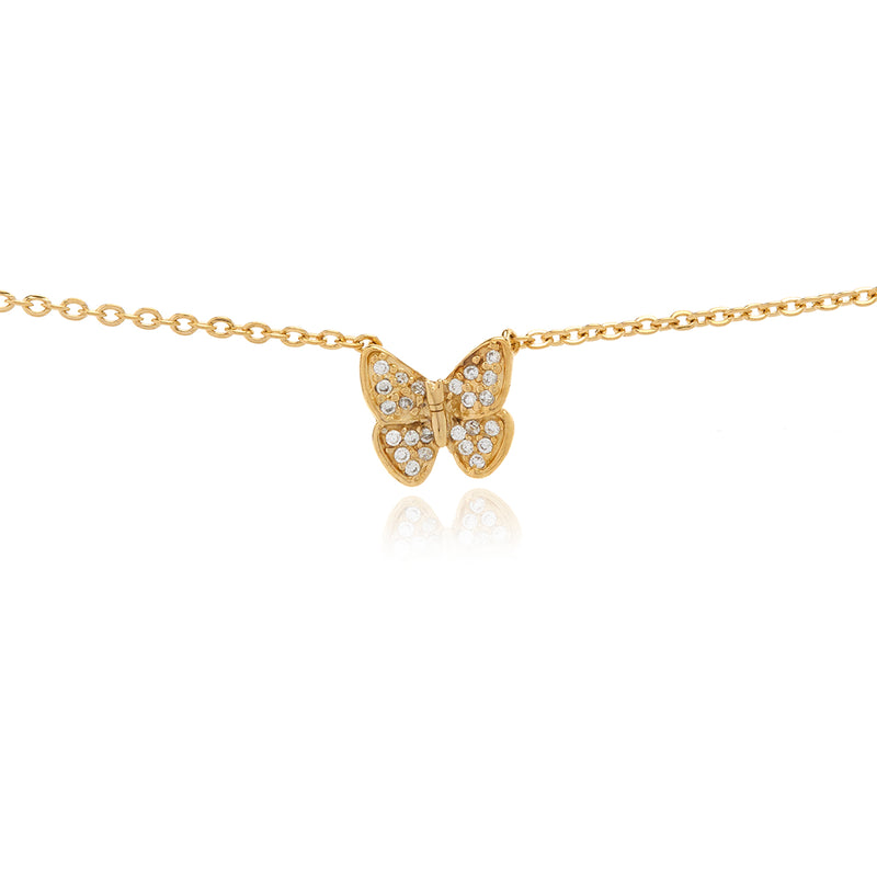 Mini Butterfly Diamond  Necklace - Georgina Jewelry