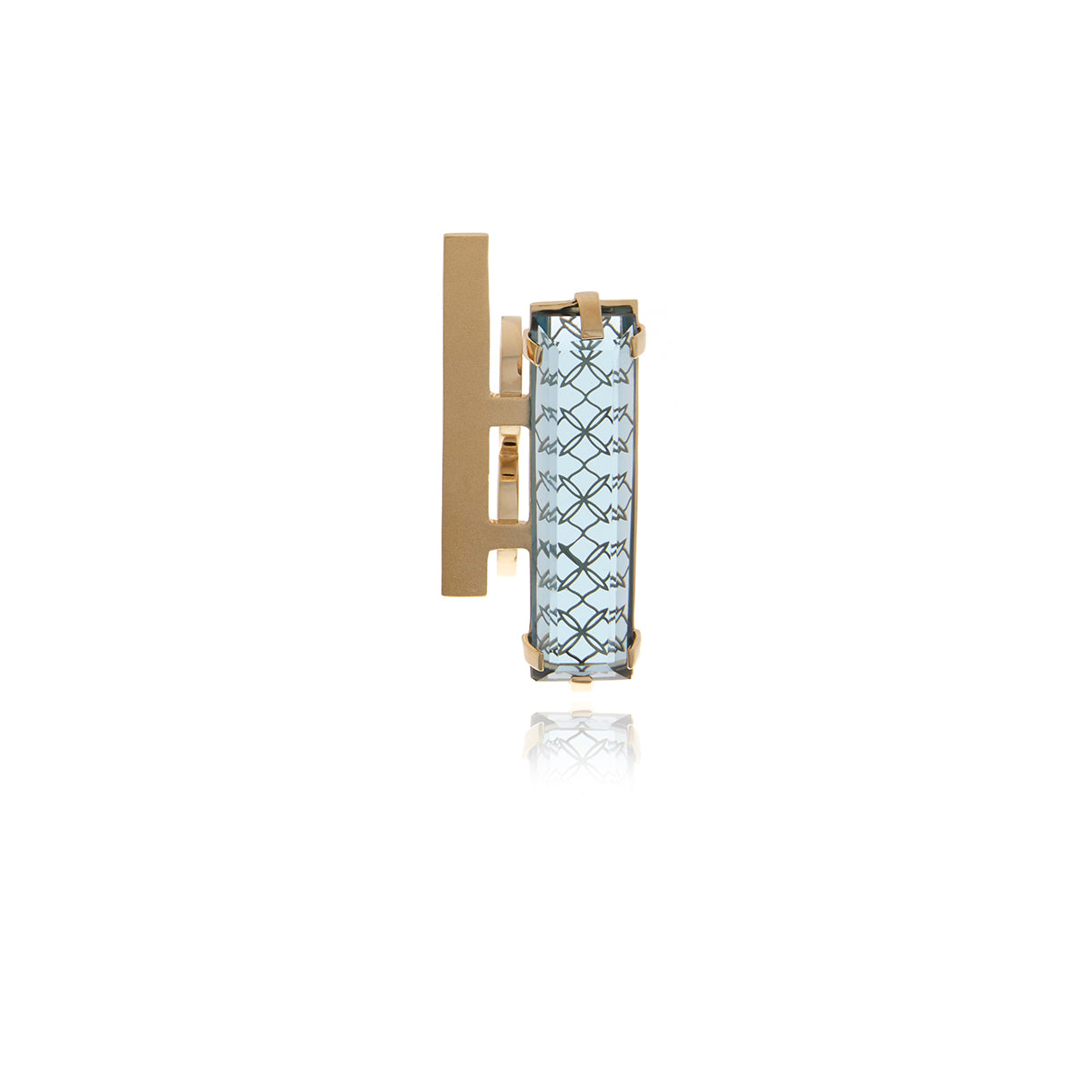 Gold Double Bar -Two Fingers Crystal Ring