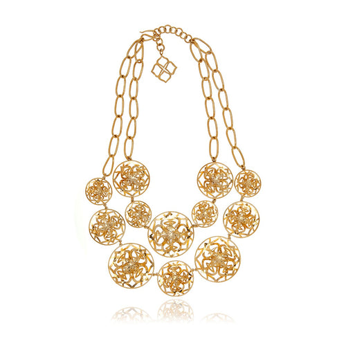 Gold Flower 3D Long Necklace - Georgina Jewelry