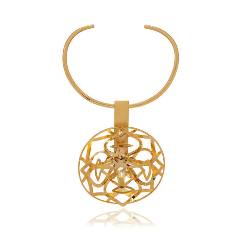 Runway Gold Flower 3D Necklace - Georgina Jewelry