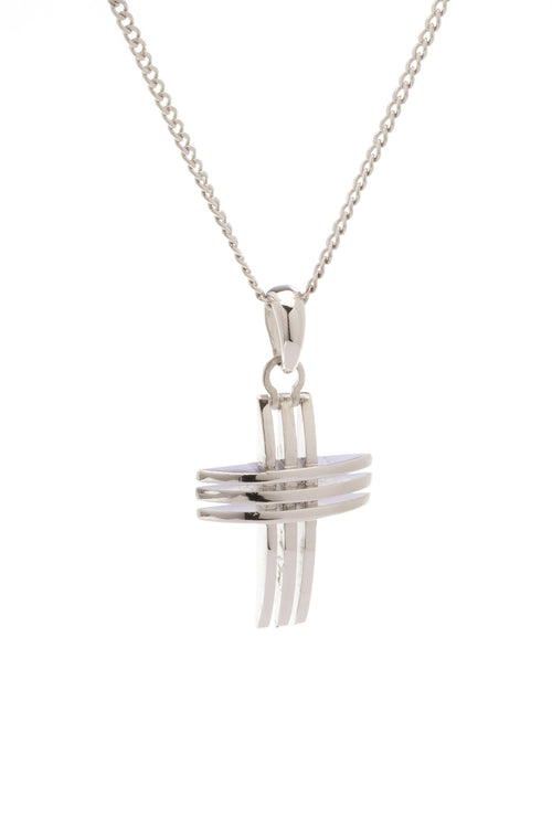 Sterling Silver 3 Lines Cross - Georgina Jewelry