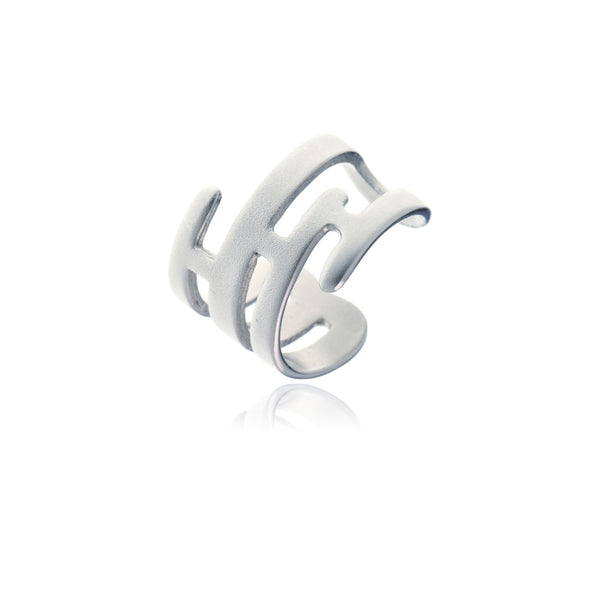 Sidereal Silver Contemporary Symmetric Ring - Georgina Jewelry