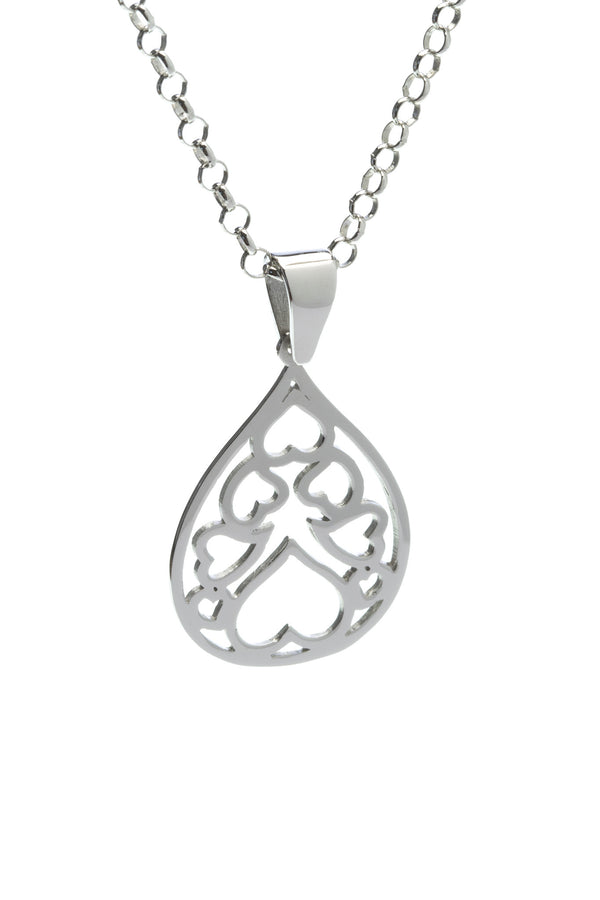 381 Silver Drop Heart Pendant - Georgina Jewelry