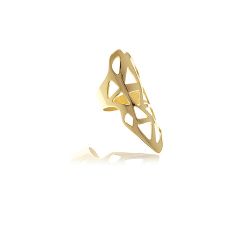 Les Racines Gold Triangle Ring - Georgina Jewelry