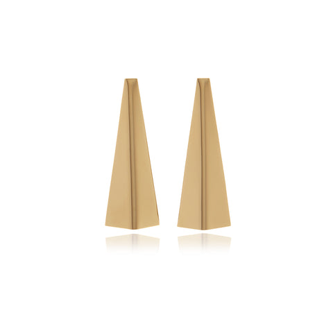 Releve Runway Gold Crystal Triangle Earrings