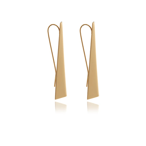 Reverie Smooth Gold Triangle Earrings - Georgina Jewelry