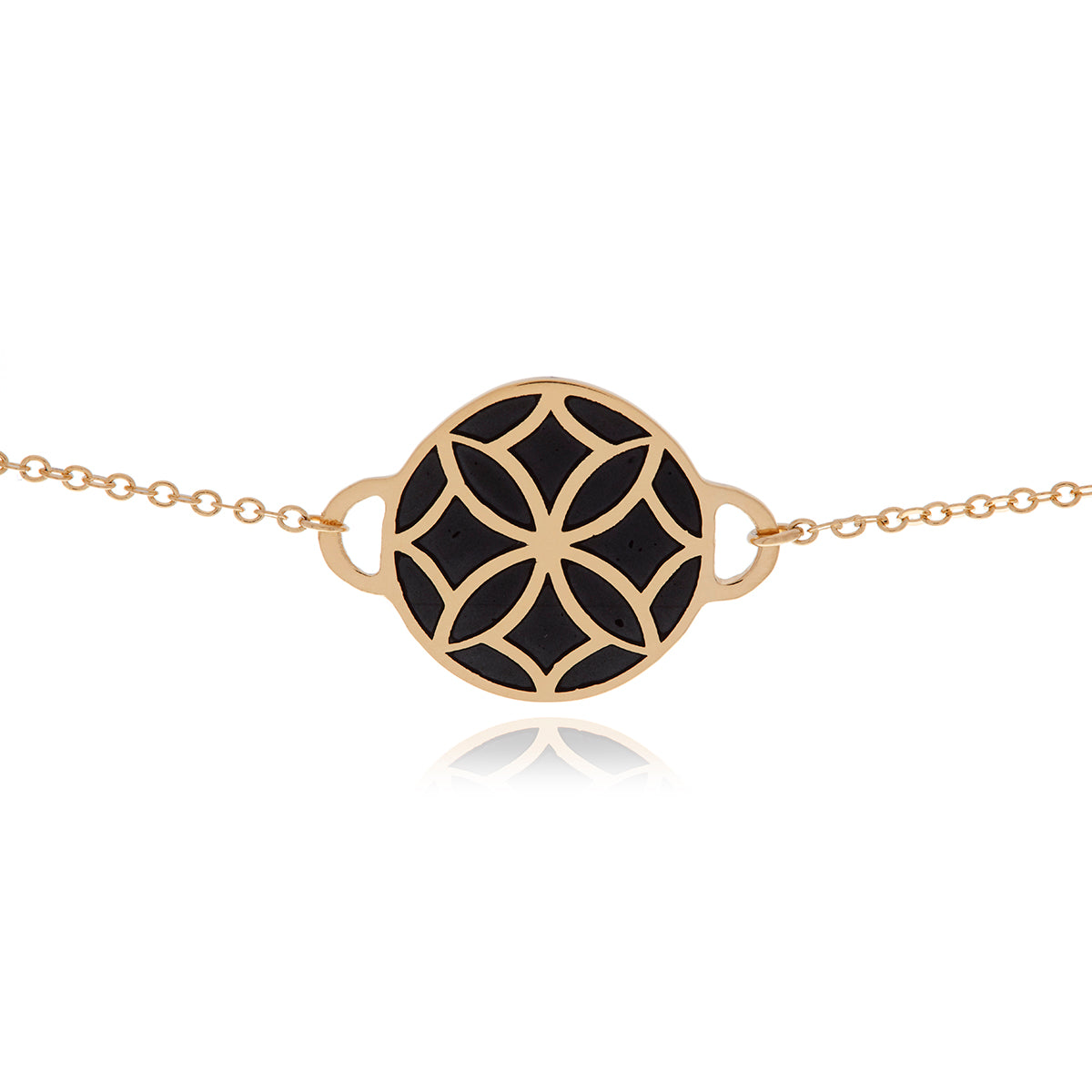 Signature Flower Gold Black Necklace