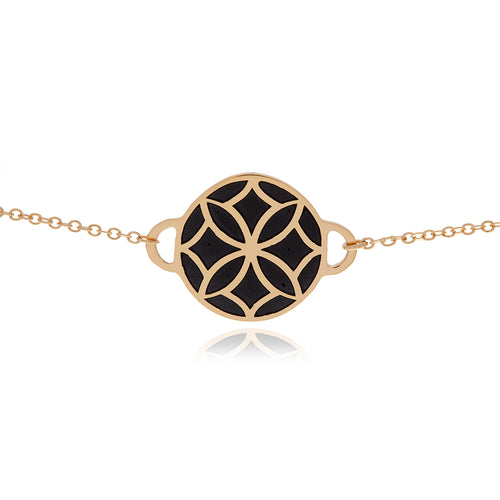 Signature Flower Gold Black Necklace - Georgina Jewelry