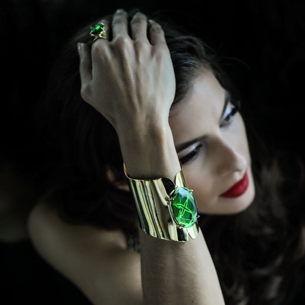 Gold Emerald Crystal Bracelet