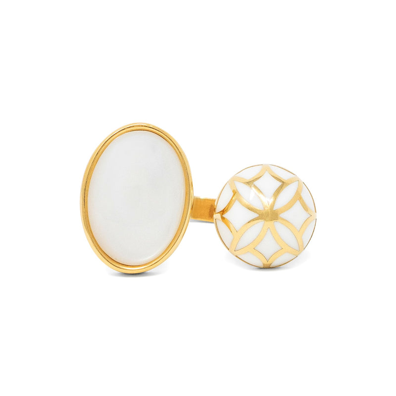 Signature Sphere Mother Pearl  Resin Ring
