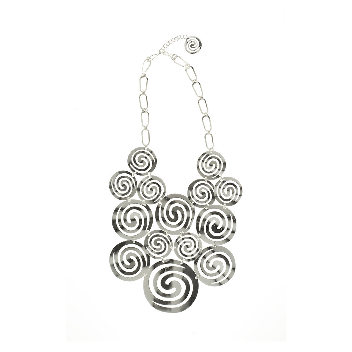 Sidereal  Silver Spiral Runway Necklace - MCK Brands