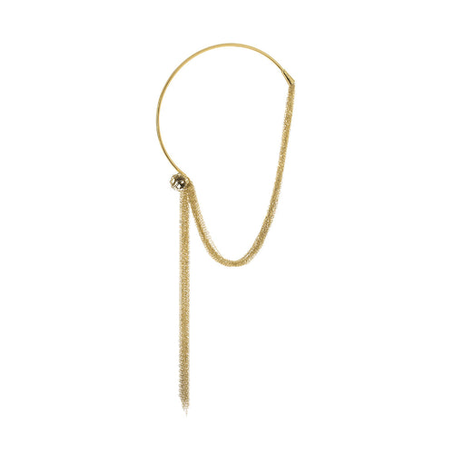 Signature Gold Button Long Smoky Crystal Necklace(Revele) - Georgina Jewelry