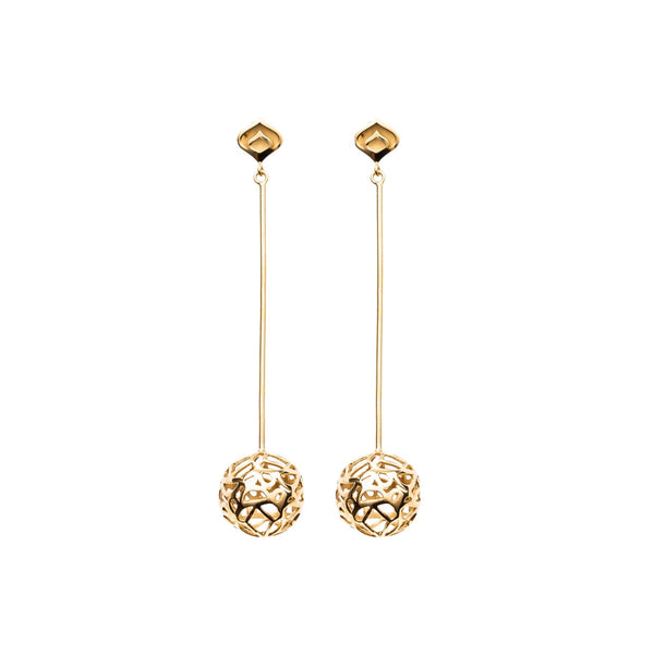 Gold Signature Sphere Long Earrings