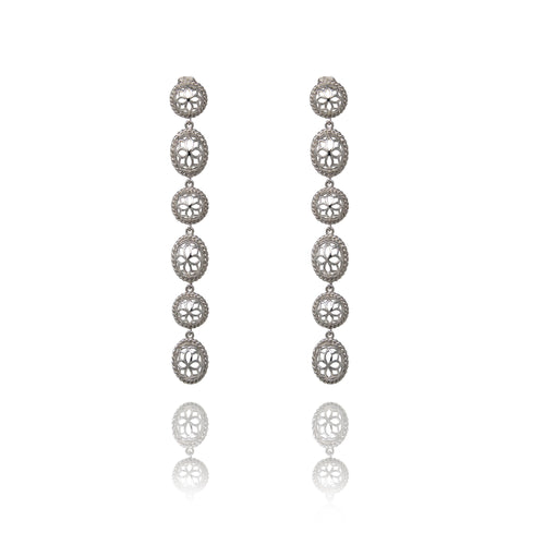 Two Tone Signature Long  Earrings