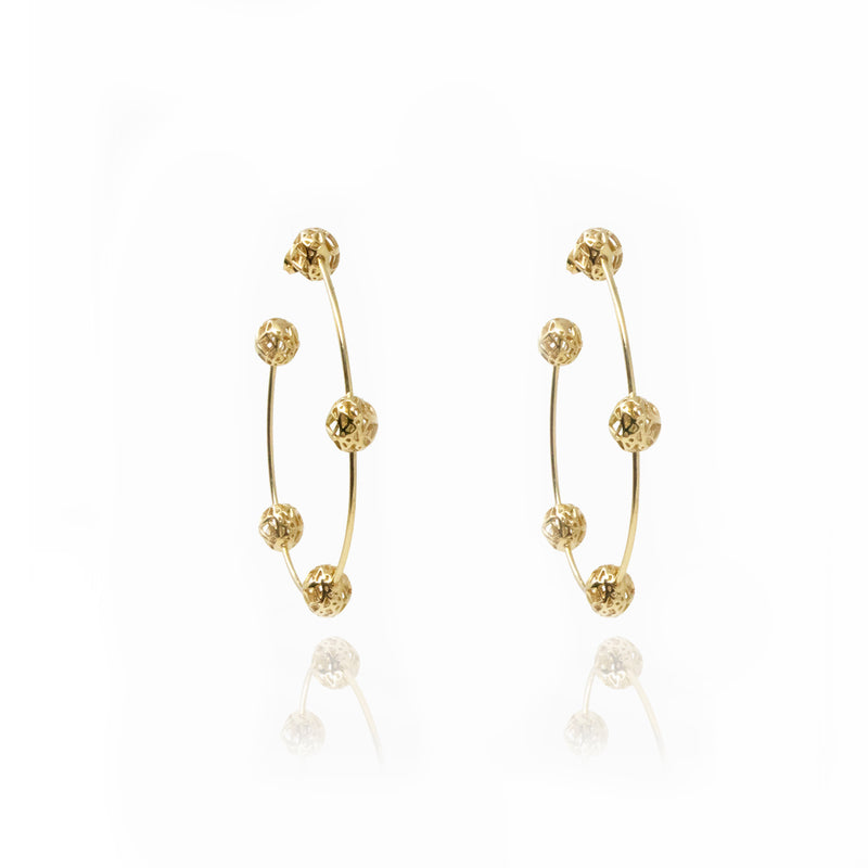 Gold Signature Sphere Hoops