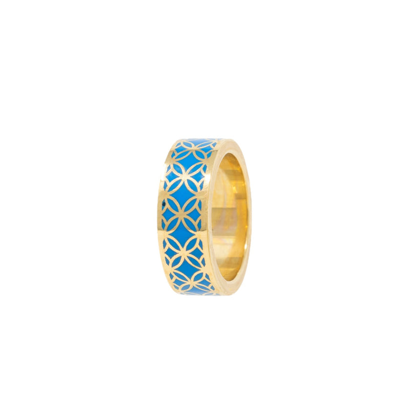 Signature Gold  Blue Cobalt Resin Band Ring