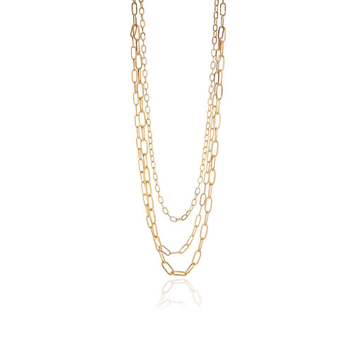 3 in One Long Chain Silver or Gold Necklace