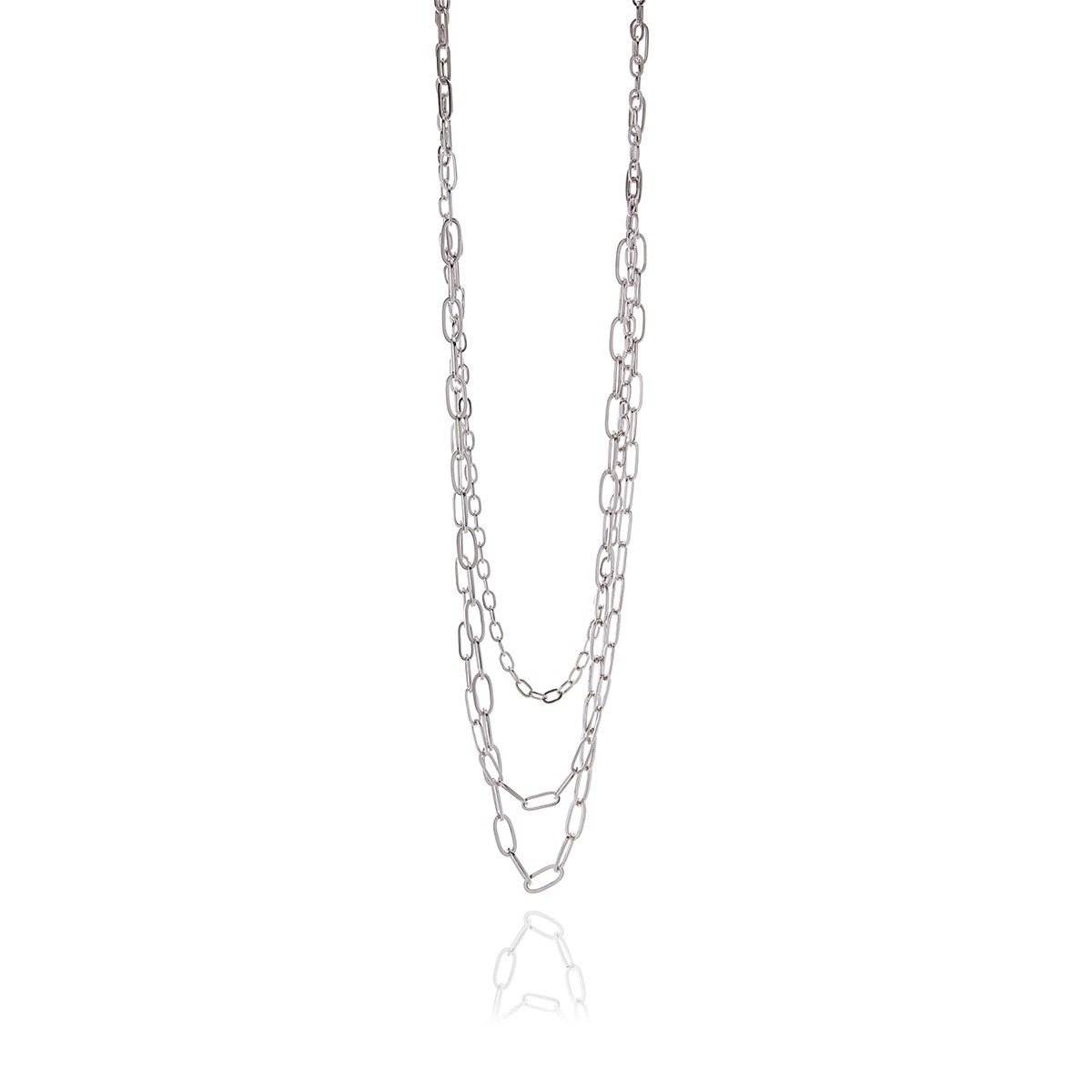 3 in One Long Chain Silver or Gold Necklace - Georgina Jewelry