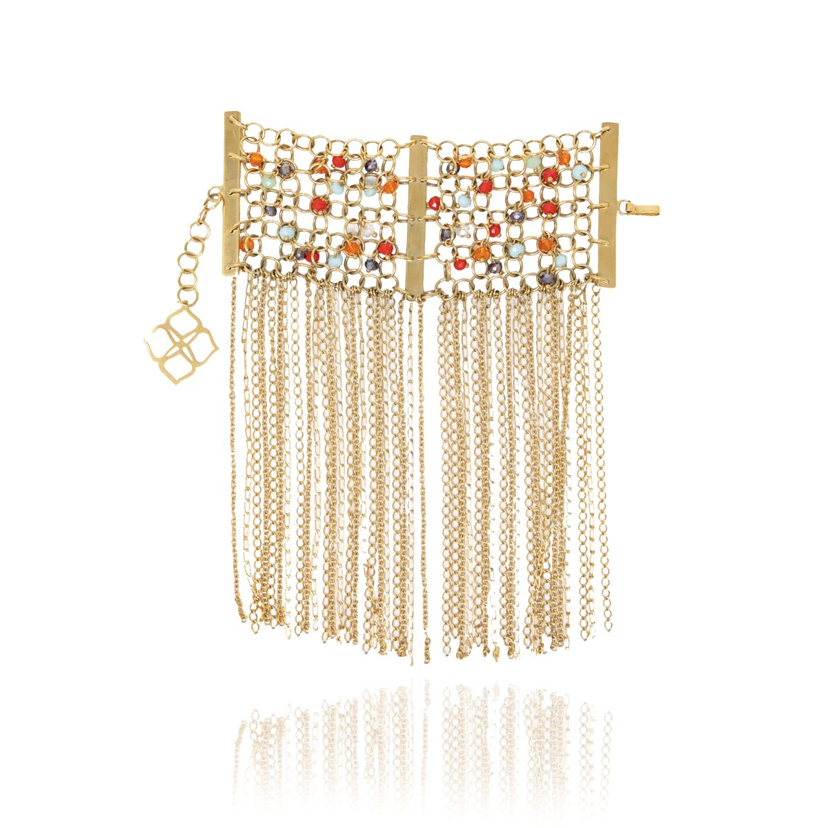 Gold Nest Bead Statement Bracelet