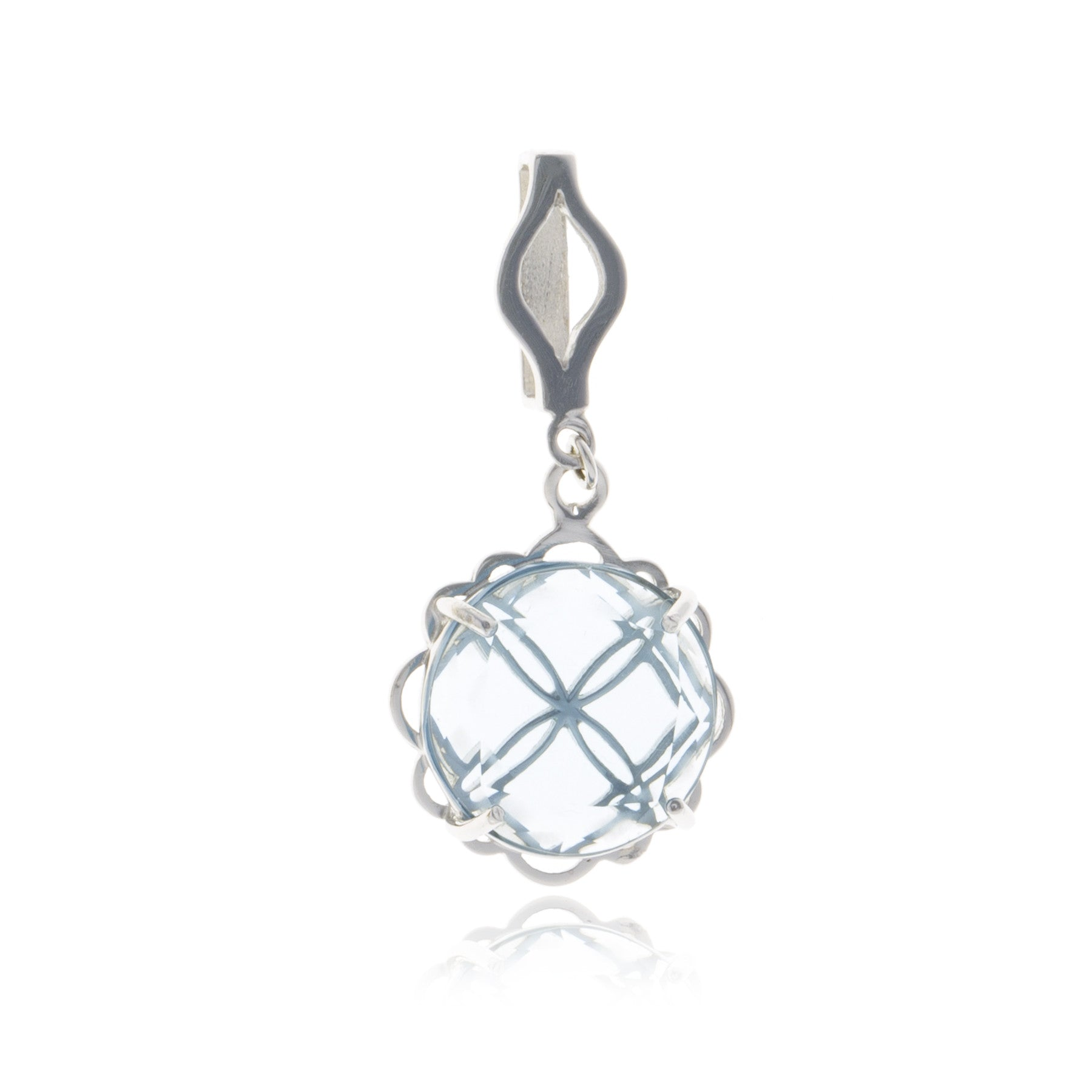 Signature Silver Crystal Flower Charm with Choker - Georgina Jewelry