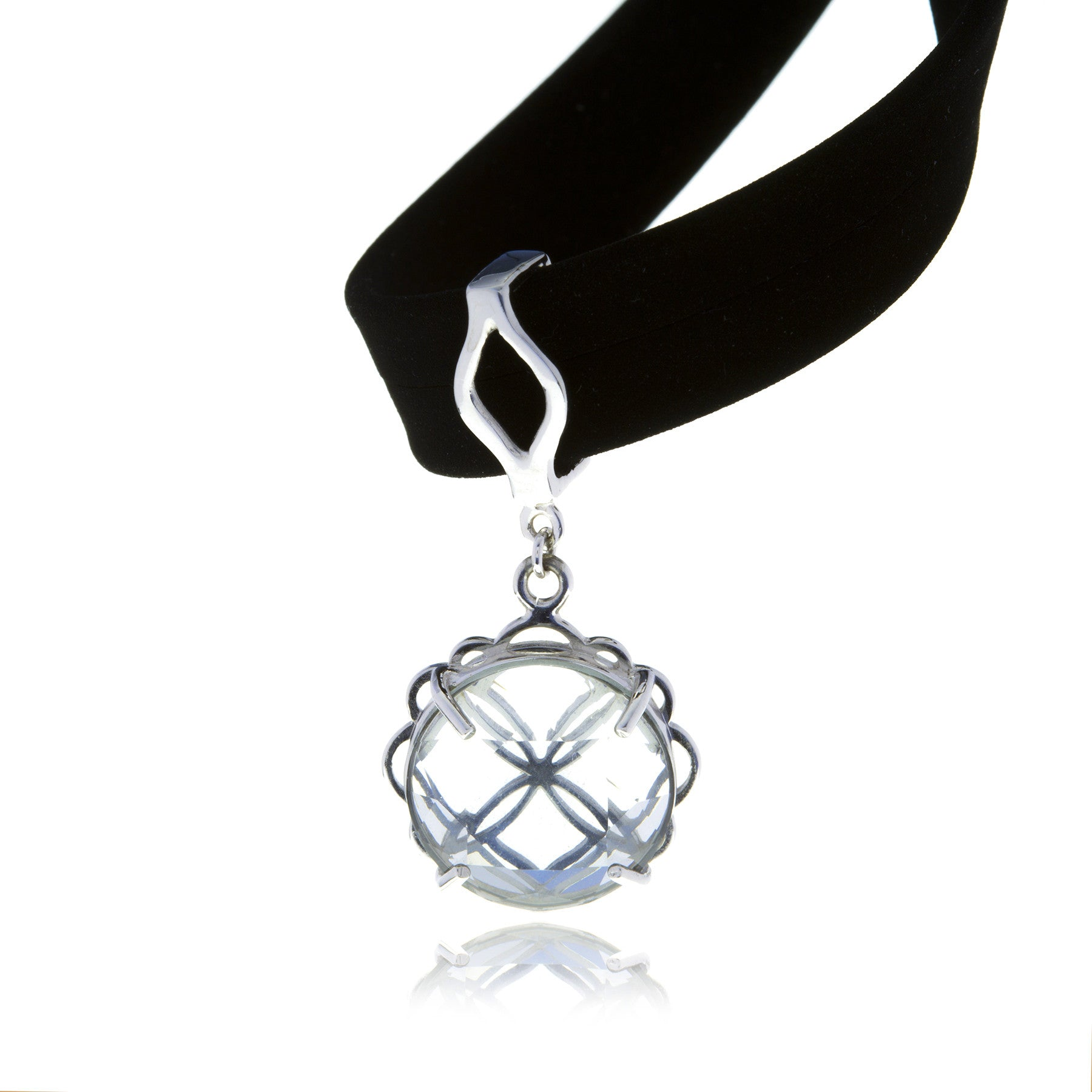 Signature Silver Crystal Flower Charm with Choker - MCK Brands