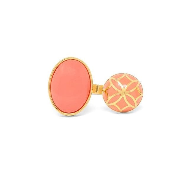Signature Sphere Coral  Resin Ring