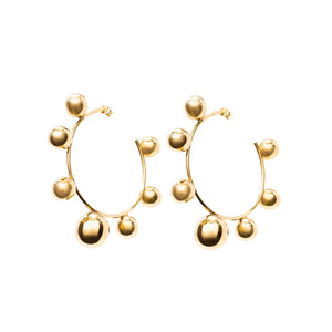 Gold Sphere Hoops