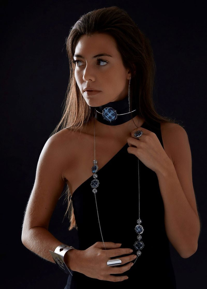 Releve Black Leather Silver Choker - Georgina Jewelry